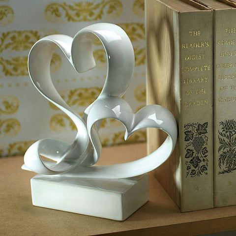 love link, hearts, cake topper, topper, wedding cake, reception, wedding reception, book end, centerpiece, guest book, guests, ceramic, pearlized, weddings