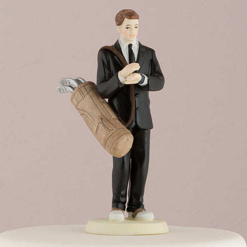 golf, golfing, fan, fanatic, figurine, ethnic, ethnicities, hand painted, porcelain, hand-painted, bride, wife, wedding reception, wedding, weddings, topper, Skin Color_Light, Ethnicity_Caucasian, mix and match, mix & match, groom, figurine, husband, couple, cake topper, Cake Accessories_Cake Toppers, cake