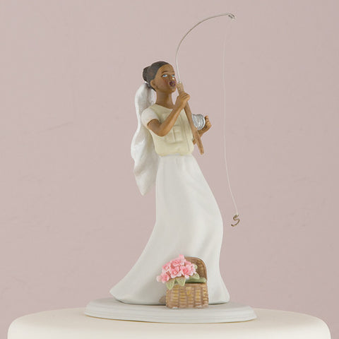fishing, groom, catch,  ethnic, ethnicities, hand painted, porcelain, hand-painted, bride, wife, wedding reception, wedding, weddings, topper, Skin Color_Dark, Ethnicity_African American, mix and match, mix & match, groom, figurine, husband, couple, cake topper, Cake Accessories_Cake Toppers, cake