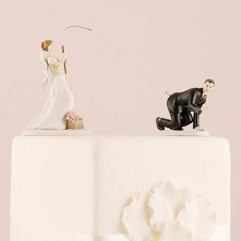 fishing, groom, catch,  ethnicities, hand painted, porcelain, hand-painted, bride, wife, wedding reception, wedding, weddings, topper, Skin Color_Light, Ethnicity_Caucasian, mix and match, mix & match, groom, figurine, husband, couple, cake topper, Cake Accessories_Cake Toppers, cake
