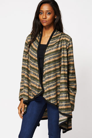 Stripe Waterfall Open Cardigan-Multi-16