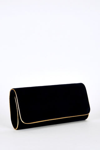 Gold Trim Medium Clutch Bag -Navy