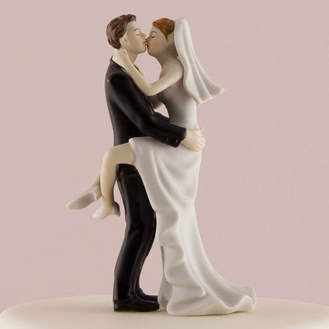 fun,  romance, couple, kiss, wedding kiss, figurine, ethnic, ethnicities, hand painted, porcelain, hand-painted, bride, wife, wedding reception, wedding, weddings, topper, Skin Color_Light, Ethnicity_Caucasian, mix and match, mix & match, groom, figurine, husband, couple, cake topper, Cake Accessories_Cake Toppers, cake