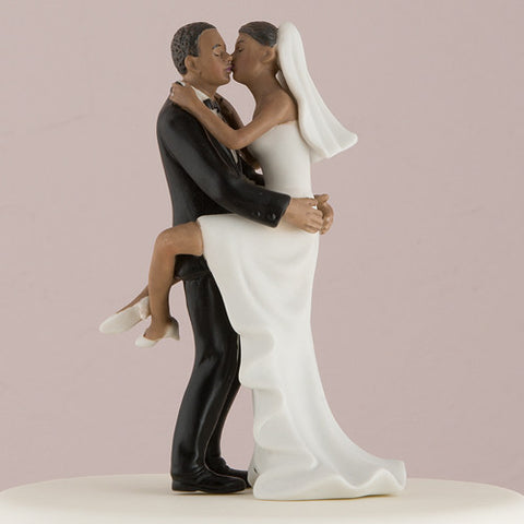 fun,  romance, couple, kiss, wedding kiss, figurine, ethnic, ethnicities, hand painted, porcelain, hand-painted, bride, wife, wedding reception, wedding, weddings, topper, Skin Color_Dark, Ethnicity_African American, mix and match, mix & match, groom, figurine, husband, couple, cake topper, Cake Accessories_Cake Toppers, cake