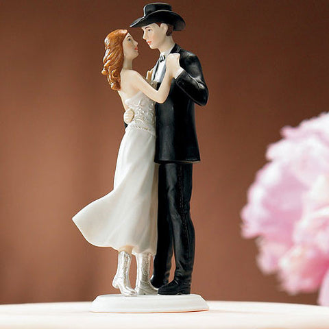 couple, western, cowboy, cowgirl, two-step, two- stepping, first dance, down home, embrace, dancing, dance,  bride and groom, husband, wife, bride, groom, cake, cake topper, topper, hand painted, hand-painted, porcelain, hair color, wedding, reception, wedding reception, figurine