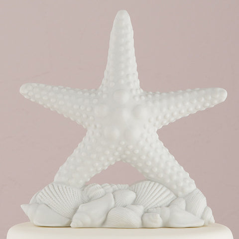 Complement, beach, beach wedding, sophisticated, starfish, white, shells, bisque, porcelain, hand-painted, bride, wife, wedding reception, wedding, weddings, topper, Skin Color_Light, Ethnicity_Caucasian,  mix and match, mix & match, groom, figurine, husband, couple, cake topper, Cake Accessories_Cake Toppers, cake