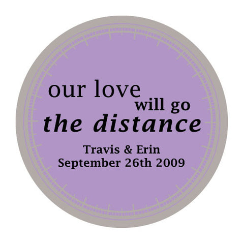 love will go the distance, stickers, lavender, personalize, names, wedding date, guests, gifts, favor, favors, biking, bicycles