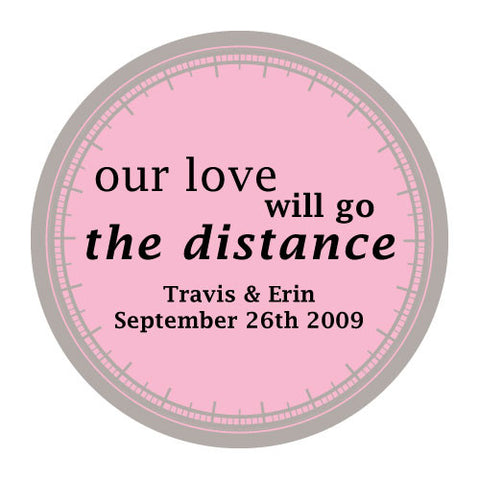 love will go the distance, stickers, pink mist, personalize, names, wedding date, guests, gifts, favor, favors, biking, bicycles