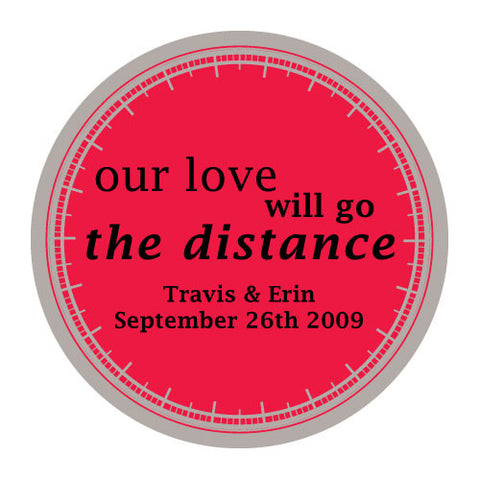 love will go the distance, stickers, rococco red, personalize, names, wedding date, guests, gifts, favor, favors, biking, bicycles