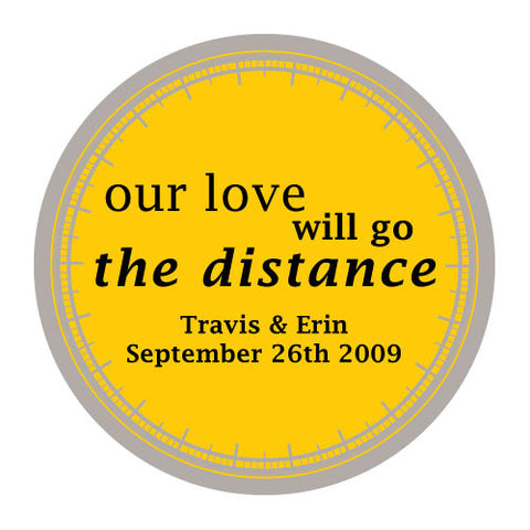 love will go the distance, stickers, sunflower, personalize, names, wedding date, guests, gifts, favor, favors, biking, bicycles