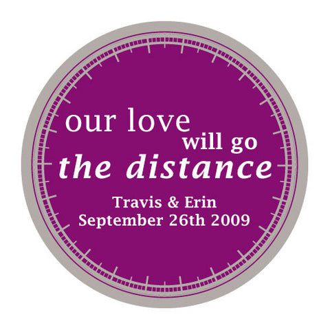 love will go the distance, stickers, orchid purple, personalize, names, wedding date, guests, gifts, favor, favors, biking, bicycles