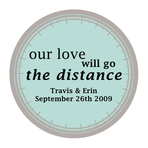 love will go the distance, stickers, teal breeze, personalize, names, wedding date, guests, gifts, favor, favors, biking, bicycles