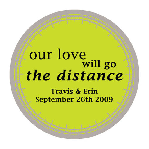 love will go the distance, stickers, candy apple, candy apple green, personalize, names, wedding date, guests, gifts, favor, favors, biking, bicycles