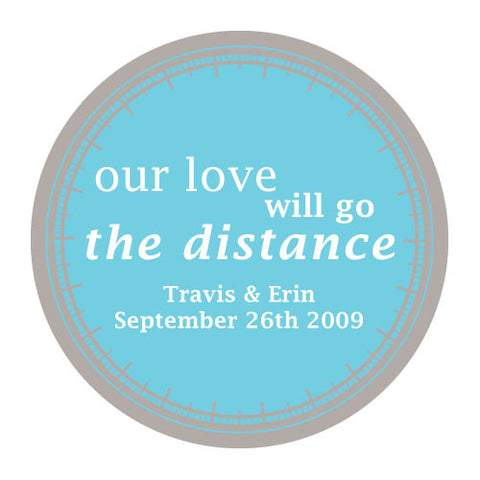 love will go the distance, stickers, aqua blue, personalize, names, wedding date, guests, gifts, favor, favors, biking, bicycles