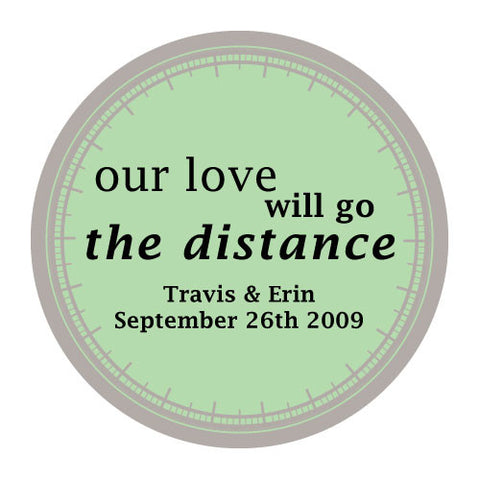 love will go the distance, stickers, daiquiri green, personalize, names, wedding date, guests, gifts, favor, favors, biking, bicycles