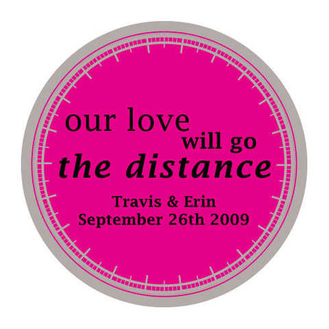 love will go the distance, stickers, fuchsia, personalize, names, wedding date, guests, gifts, favor, favors, biking, bicycles