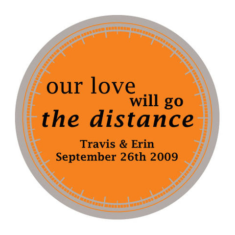 love will go the distance, stickers, burnt orange, personalize, names, wedding date, guests, gifts, favor, favors, biking, bicycles