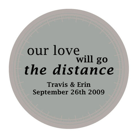love will go the distance, stickers, pewter, personalize, names, wedding date, guests, gifts, favor, favors, biking, bicycles