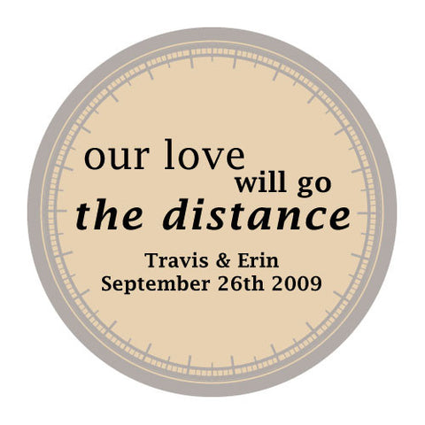 love will go the distance, stickers, mocha mousse, personalize, names, wedding date, guests, gifts, favor, favors, biking, bicycles