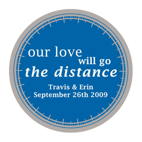 love will go the distance, stickers, indigo blue, personalize, names, wedding date, guests, gifts, favor, favors, biking, bicycles