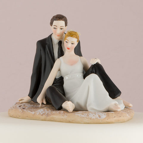 Complement, romantic, beach, beach wedding, beautiful, crafted, enchanting,  detailed, heart, heart drawn, sand, hand painted, porcelain, hand-painted, bride, wife, wedding reception, wedding, weddings, topper, Skin Color_Light, Ethnicity_Caucasian,  mix and match, mix & match, groom, figurine, husband, couple, cake topper, Cake Accessories_Cake Toppers, cake