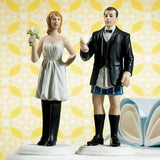 "Bride ""In Charge"" and Groom ""Not In Charge"" Cake Toppers Bride in Charge ""Wearing the Pants"" Figurine"