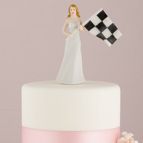 "Bride at Finish Line with Victorious Groom Figurine Bride ""At the Finish Line"" with the Checkered Flag"