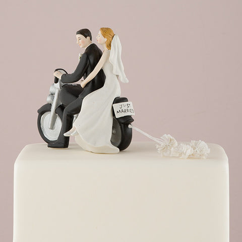 romantic, couple, seated, classic, motor bike, motorcycle, crafted, Just Married, license plate,  pom poms, ethnic, ethnicities, hand painted, porcelain, hand-painted, bride, wife, wedding reception, wedding, weddings, topper, Skin Color_Light, Ethnicity_Caucasian,  mix and match, mix & match, groom, figurine, husband, couple, cake topper, Cake Accessories_Cake Toppers, cake