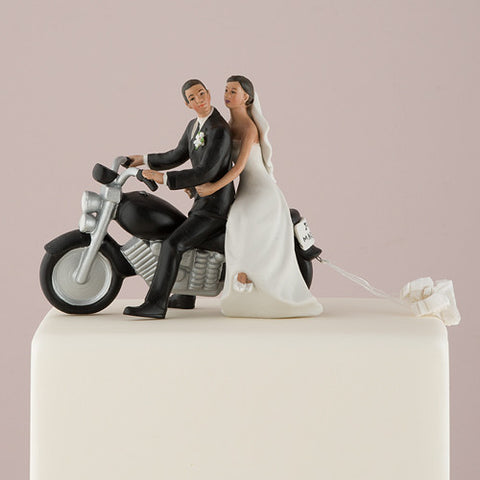 romantic, couple, seated, classic, motor bike, motorcycle, crafted, Just Married, license plate,  pom poms, ethnic, ethnicities, hand painted, porcelain, hand-painted, bride, wife, wedding reception, wedding, weddings, topper, Skin Color_Medium, Portugese, Brazilian, Dominican, latina, latino, hispanic, Ethnicity_Latin/Hispanic,  mix and match, mix & match, groom, figurine, husband, couple, cake topper, Cake Accessories_Cake Toppers, cake