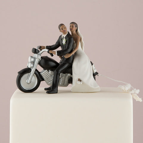 romantic, couple, seated, classic, motor bike, motorcycle, crafted, Just Married, license plate,  pom poms, ethnic, ethnicities, hand painted, porcelain, hand-painted, bride, wife, wedding reception, wedding, weddings, topper, Skin Color_Dark, Ethnicity_African American,  mix and match, mix & match, groom, figurine, husband, couple, cake topper, Cake Accessories_Cake Toppers, cake