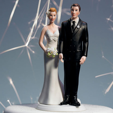 """The Love Pinch"" Bridal Couple Figurine Caucasian Couple"