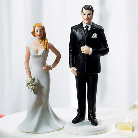 curvy, burly, big, tall, big and tall, full-figured, mix and match, mix & match, husband, wife, bride, groom, cake, cake topper, topper, hand painted, hand-painted, porcelain, hair color, wedding, reception, wedding reception, figurine