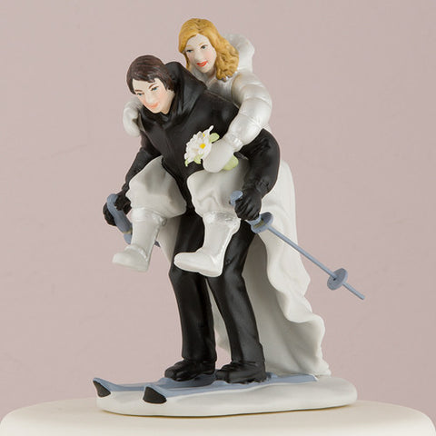 ski, skiing, winter, slope, slopes, poised, embrace,  partners,  custom, figurine, unique ethnic, blend, ethnic, ethnicities, hand painted, porcelain, hand-painted, bride, wife, wedding reception, wedding, weddings, topper, Skin Color_Light, Ethnicity_Caucasian,  mix and match, mix & match, groom, figurine, husband, couple, cake topper, Cake Accessories_Cake Toppers, cake