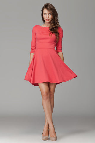 Coral 3/4 Inch Sleeve Flared Dress