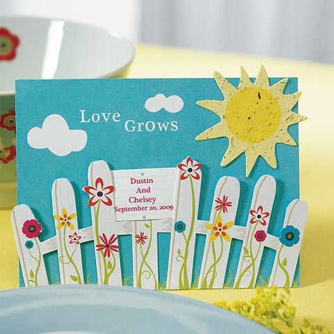 love grows, picket fence, sun, garden, paper sun, easel, table, decorations, invitations, stationary, weddings