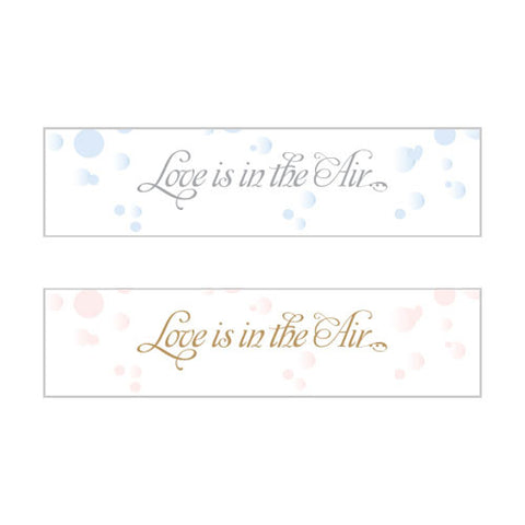 love is in the air, bubbles, stickers, personalize, guests, favors, favor, bronze, pink, peel-off, weddings