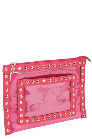Studded Zipped PVC Clutch Bag