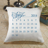 """Notable"" Personalized Ring Pillow with Wedding Date Design Oasis Blue"