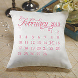 """Notable"" Personalized Ring Pillow with Wedding Date Design Tangerine Orange"
