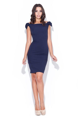 Navy Blue Above Knee Bow Sleeve Body Con Dress