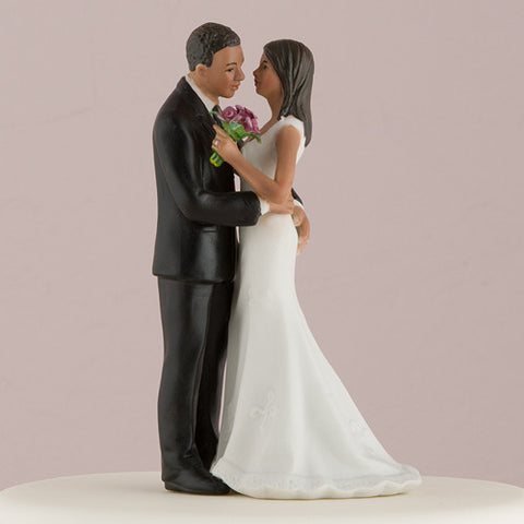 fun loving, couple, play, game,  playful squeeze,  ethnic, ethnicities, hand painted, porcelain, hand-painted, bride, wife, wedding reception, wedding, weddings, topper, Skin Color_Medium, Portugese, Brazilian, Dominican, latina, latino, hispanic, Ethnicity_Latin/Hispanic, mix and match, mix & match, groom, figurine, husband, couple, cake topper, Cake Accessories_Cake Toppers, cake