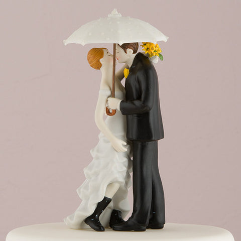 beautiful dress, stylish suit, white, umbrella, rubber boots, boots, rain, rain on wedding day, good luck, rain or shine, porcelain, hand-painted, bride, wife, wedding reception, wedding, weddings, topper, Skin Color_Light, Ethnicity_Caucasian,  mix and match, mix & match, groom, figurine, husband, couple, cake topper, Cake Accessories_Cake Toppers, cake