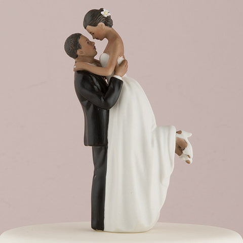 True Romance, interchangable, interraccial, personal,  special, fashionable, cultural, diverse,  poised, embrace,  partners,  custom, figurine, unique ethnic, blend, ethnic, ethnicities, hand painted, porcelain, hand-painted, bride, wife, wedding reception, wedding, weddings, topper, Skin Color_Dark, Ethnicity_African American,  mix and match, mix & match, groom, figurine, husband, couple, cake topper, Cake Accessories_Cake Toppers, cake
