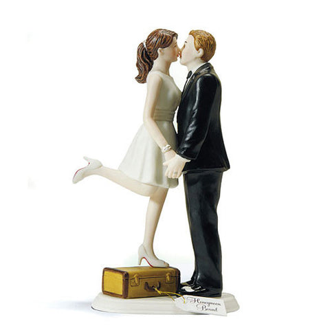 couple, kiss, suitcase, husband, wife, bride, groom, bride and groom, cake, cake topper, topper, hand painted, porcelain, hair color, wedding, reception, wedding reception, figurine