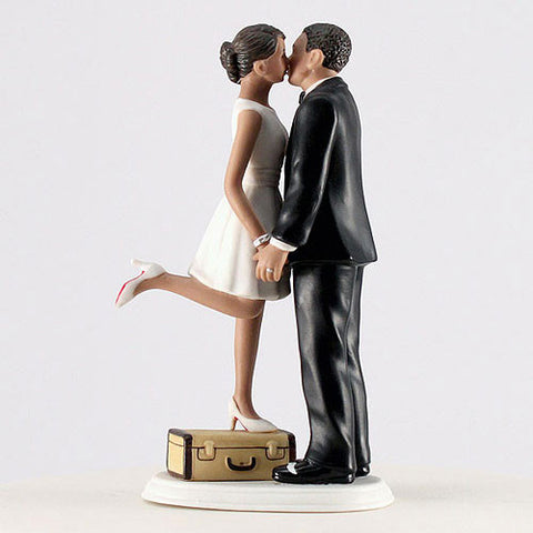 couple, kiss, suitcase, husband, wife, bride, groom, bride and groom, cake, cake topper, topper, hand painted, hand-painted, porcelain, hair color, wedding, reception, wedding reception, figurine