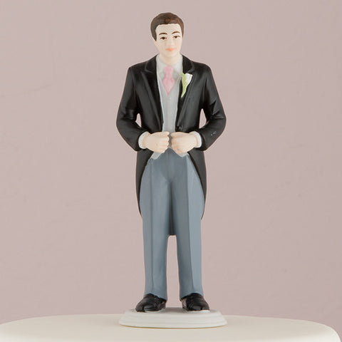 Dressed, classic, morning suit, dashing, confident, pale pink tie, rose bud boutonnière, hand painted, porcelain, hand-painted, bride, wife, wedding reception, wedding, weddings, topper, Skin Color_Light, Ethnicity_Caucasian, mix and match, mix & match, groom, figurine, husband, couple, cake topper, Cake Accessories_Cake Toppers, cake