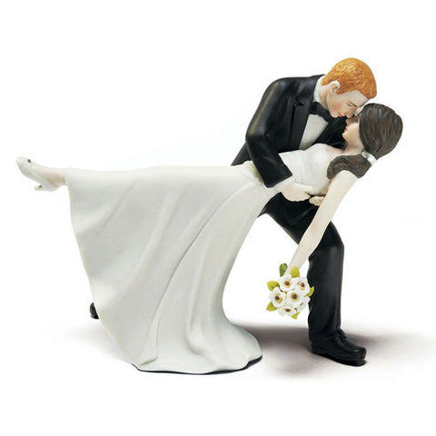couple, romantic, embrace, pony tail, simple dress, rhinestone, shoes, modern, classic, dancing, dance, dip, bride and groom, husband, wife, bride, groom, cake, cake topper, topper, hand painted, hand-painted, porcelain, hair color, wedding, reception, wedding reception, figurine