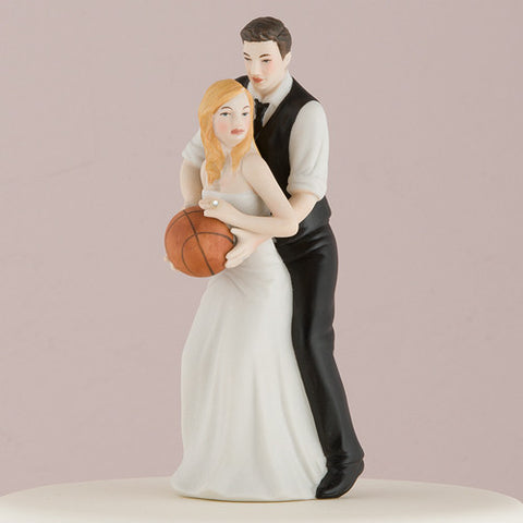 playful, playing, basketball, couple,  sport, sports, fans, fan, ethnic, ethnicities, hand painted, porcelain, hand-painted, bride, wife, wedding reception, wedding, weddings, topper, Skin Color_Light, Ethnicity_Caucasian,  mix and match, mix & match, groom, figurine, husband, couple, cake topper, Cake Accessories_Cake Toppers, cake