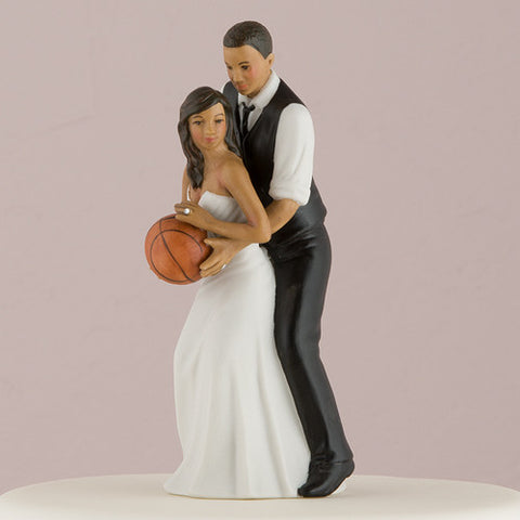 playful, playing, basketball, couple,  sport, sports, fans, fan, ethnic, ethnicities, hand painted, porcelain, hand-painted, bride, wife, wedding reception, wedding, weddings, topper, Skin Color_Dark, Ethnicity_African American,  mix and match, mix & match, groom, figurine, husband, couple, cake topper, Cake Accessories_Cake Toppers, cake