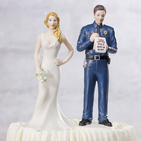 couple, dapper, police, police officer, ticket, uniform, badge, love citation, citation, mix and match, mix & match, husband, wife, bride, groom, bride and groom, cake, cake topper, topper, hand painted, hand-painted, porcelain, hair color, wedding, reception, wedding reception, figurine